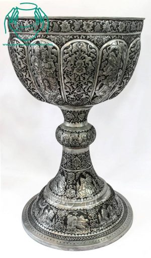 قیمت سنگاب قلمزنی سایز بزرگ ترکیب صورت و اسلیمی اصفهان