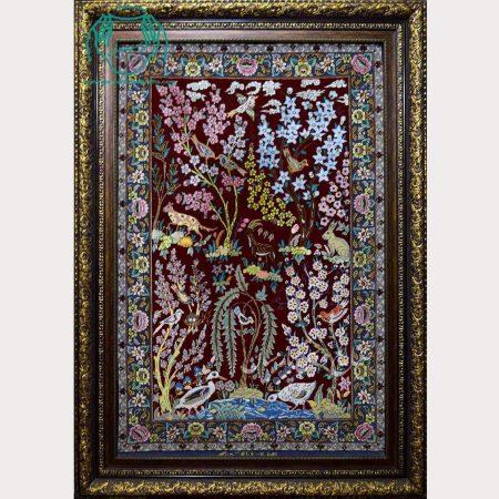 تابلو فرش دستبافت لاکی ابریشمی درختی