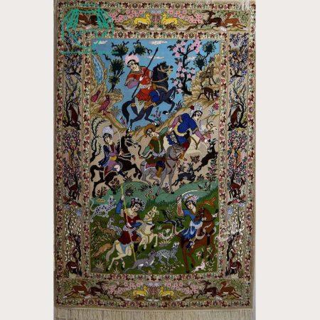 تبلو فرش نقشه شکارگاه اصفهان دو خفتی