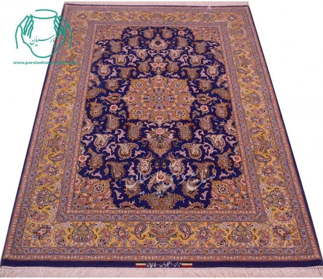 فیمت قالیچه دستبافت لچک ترنج زمینه آبی حاشیه طلایی