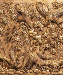 قیمت تابلو قلمزنی جنده کاری طرح گل مرغ سیمرغ