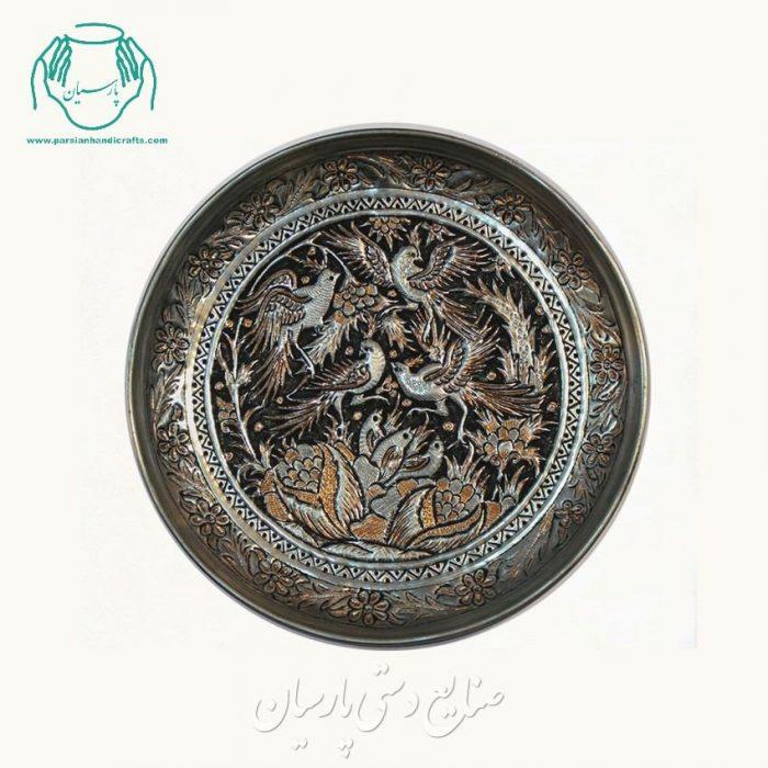 قیمت بشقاب مسی قلمزنی درشت گل مرغ اصفهان