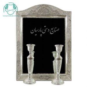 قیمت آینه شمعدان قلم زنی اب نقره طرح گل و مرغ جدید