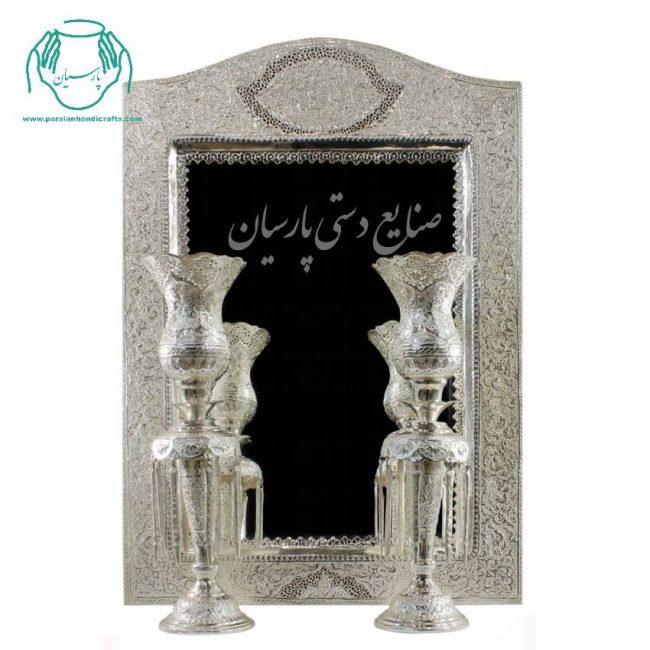 قیمت اینه شمعدان قلم زنی دست ساز اب نقره گل و مرغ اصفهان جدید