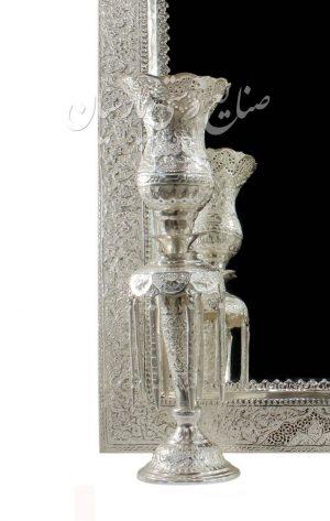 نردیک اینه شمعدان قلم زنی دست ساز اب نقره گل و مرغ اصفهان جدید
