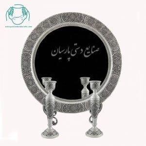 طرح دایره بیضی آینه شمعدان قلمزنی گرد پتینه قلم ترنج اصفهان
