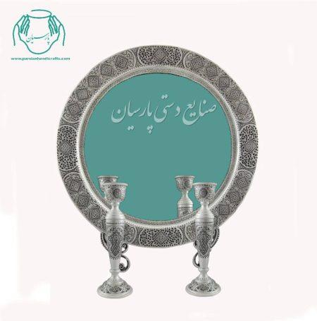 قیمت آینه شمعدان قلمزنی گرد پتینه قلم ترنج اصفهان