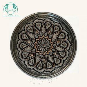 قیمت بشقاب خورشیدی قلمزنی معمولی مسی سیاه قلم اصفهان