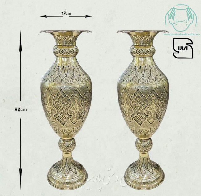 قیمت جفت گلدان برنجی قلمزنی سیاه قلم اصفهان