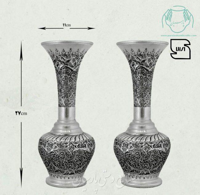 قیمت گلدان مسی قلمزنی طرح گل و مرغ اصفهان