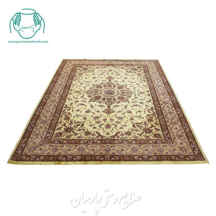 قالیچه دوکف ابریشم دوخفتی طلایی