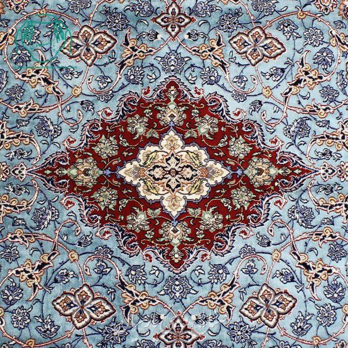 قالیچه دستبافت ابریشمی آبی جفت