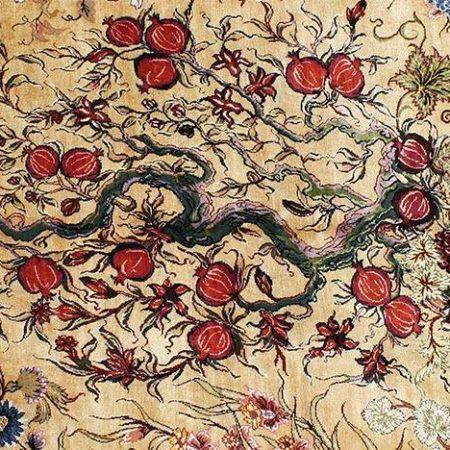 فرش دستبافت 6 متری کف ابریشم تک خفتی نقشه درختی جفت