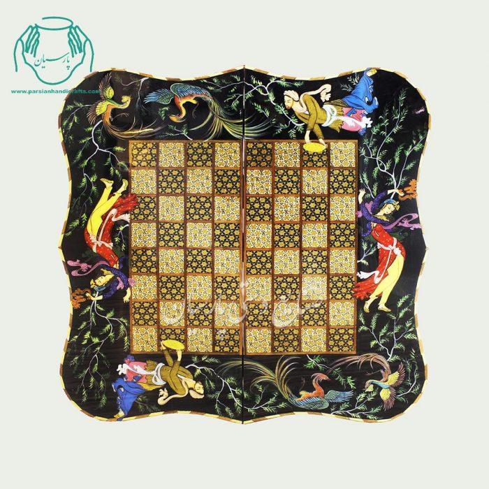 طرح لیلی و مجنون تخته نرد شطرنج خاتم