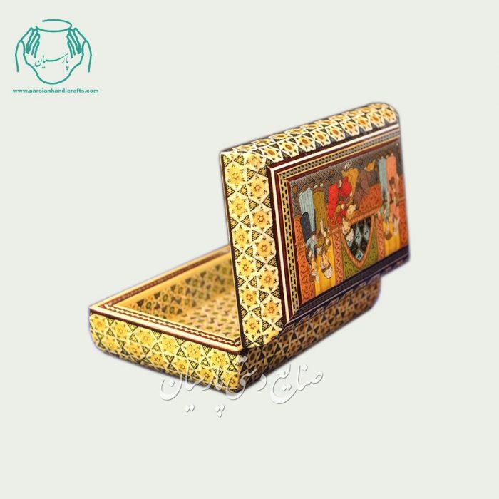 سری جعبه جواهرات داخل خاتمکاری نقاشی طرح مهمانی