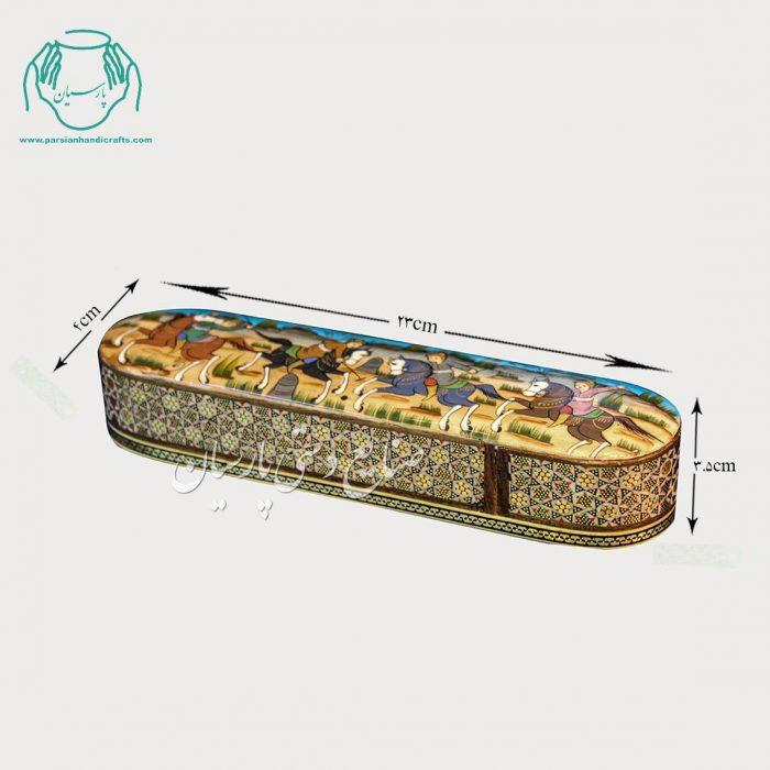 قلمدان خاتم کاری اصفهان طرح نقاشی چوگان