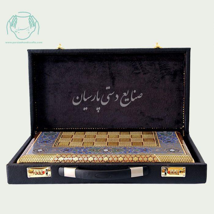 داخل کیف چرمی سامسونت شطرنج تخته نرد سایز 40 و 50