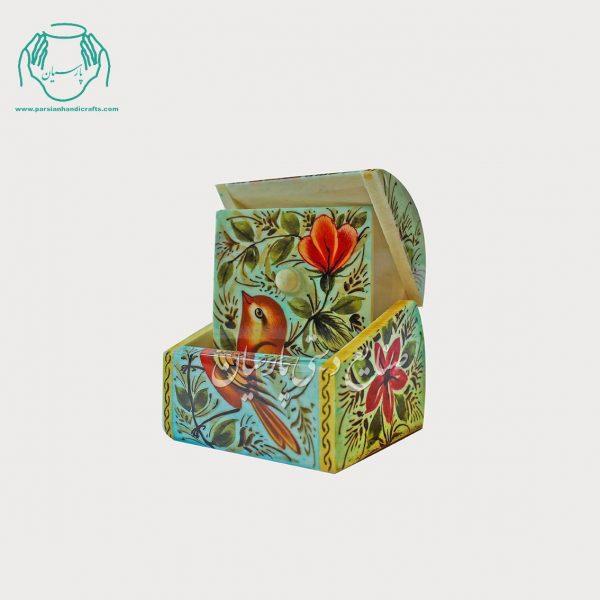 جعبه نقلی استخوانی طرح گل و مرغ مینیاتوری