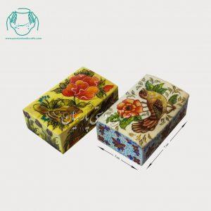 جعبه استخونی کبریتی طرح گل و مرغ ساده