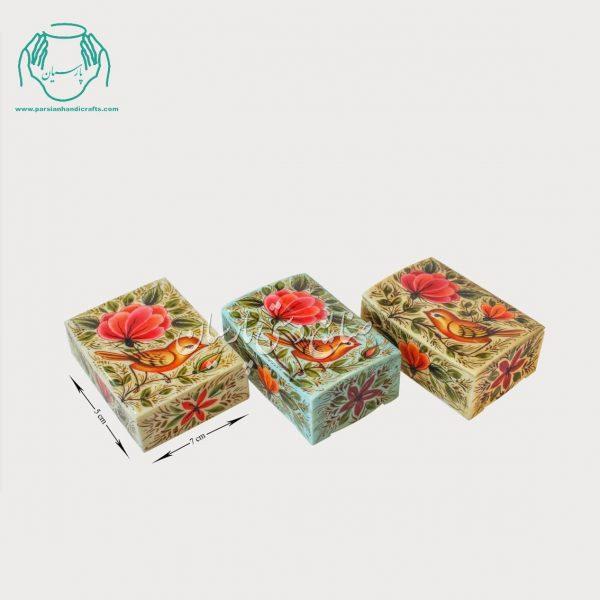 جعبه استخوانی کبریتی طرح گل مرغ مینیاتوری