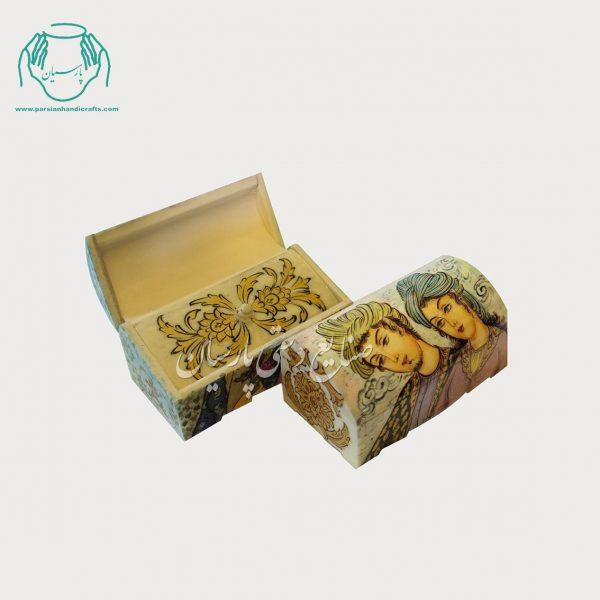 جعبه استخوانی 12سانتی جواهرات نقاشی طرح چهره