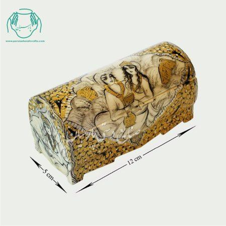 جعبه جواهرات استخوانی سایز 12 طرح چهره مینیاتوری