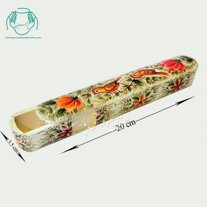 قلمدان استخوانی نقاشی طرح گل مرغ سایز 20