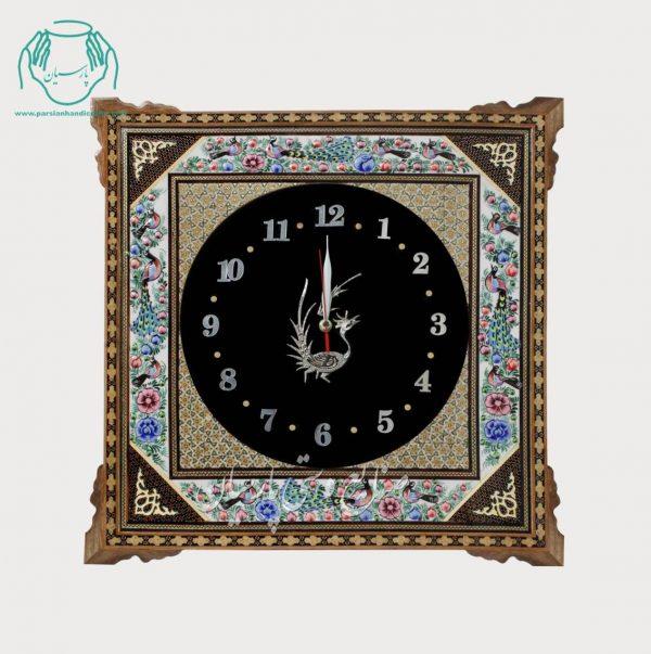 ساعت دیواری مربع تلفیق هنر قلمزنی مینیاتور و خاتمکاری
