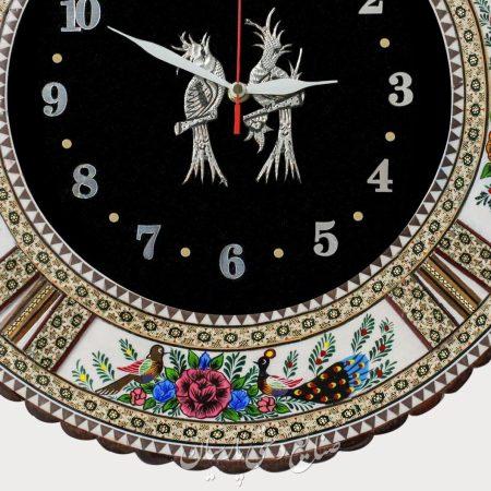 ساعت دیواری دایره تلفیق هنر قلمزنی مینیاتور و خاتمکاری
