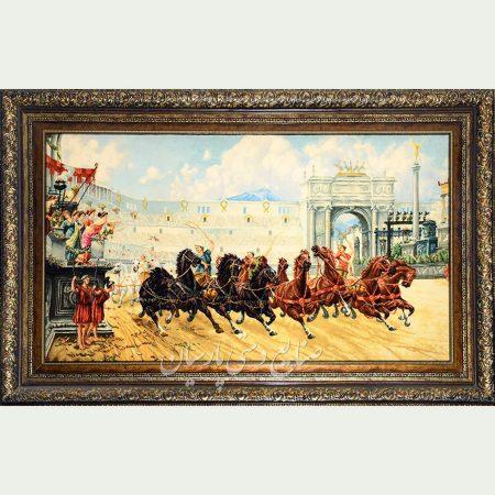 تابلو فرش اوپایی طرح رومی گله اسب
