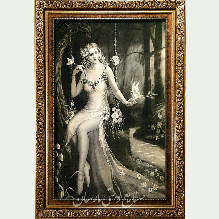 تابلو فرش دختر تاب سوار سیاه سفید