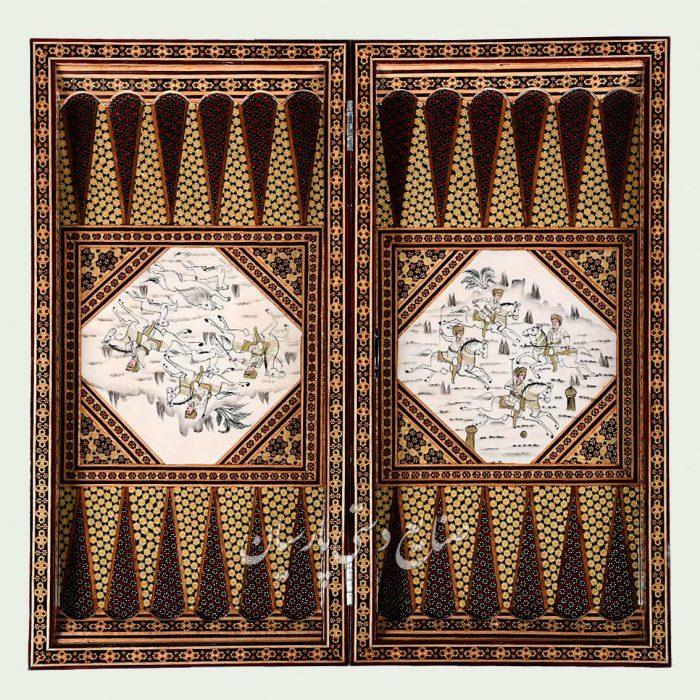 داخل تخته نرد خاتمکاری سه گل نقاشی چوگان لب ستونی