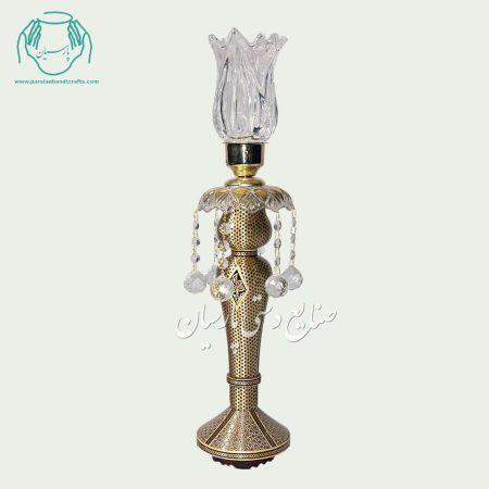 شمعدان خاتم کاری (خاتم شیشی طلایی با پایه خاتم شیشی استخوانی