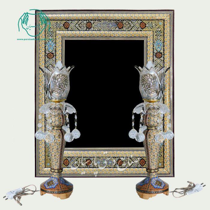آینه خاتم نقاشی تذهیب شمعدان خاتمکاری تخمه دار