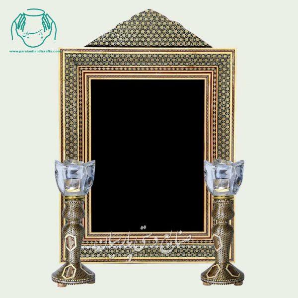 آینه خاتم تاج دار هفت شمسه سبز شمعدان خاتم کاری شیشی صلیبی