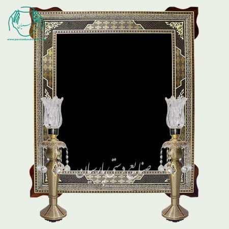 آینه شمعدان خاتم صلیبی دوگل گوشه دار