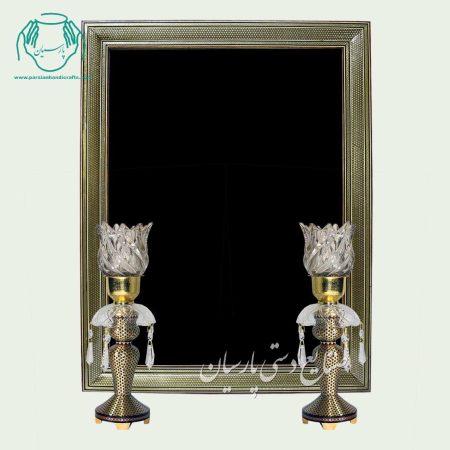 آینه شمعدان خاتم مشکی طلایی خاتمکاری
