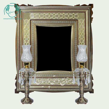 آینه خاتمکاری طراح دار شمعدان خاتم شیشی طلایی صلیبی
