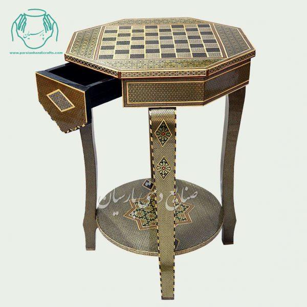 میز خاتم کاری شطرنج دوطبقه کشو دار
