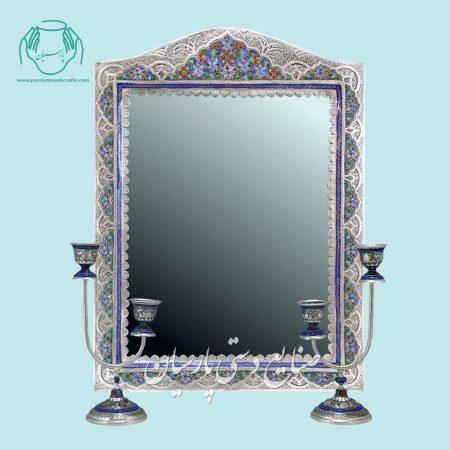آینه شمعدان تلفیق هنر قلمزنی و نقاشی پرداز