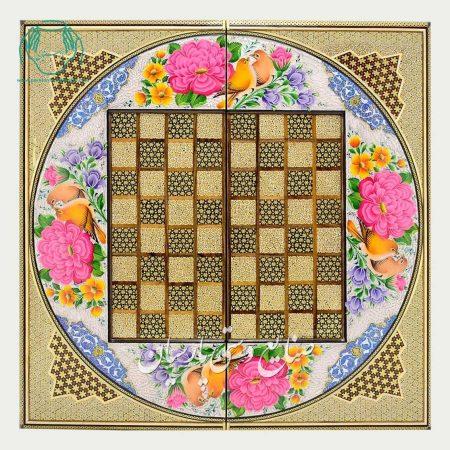 روی تخته نرد اعلی خاتم نقاشی گل و مرغ