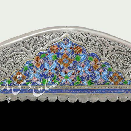 تاج آینه شمعدان تلفیق هنر قلمزنی و نقاشی پرداز