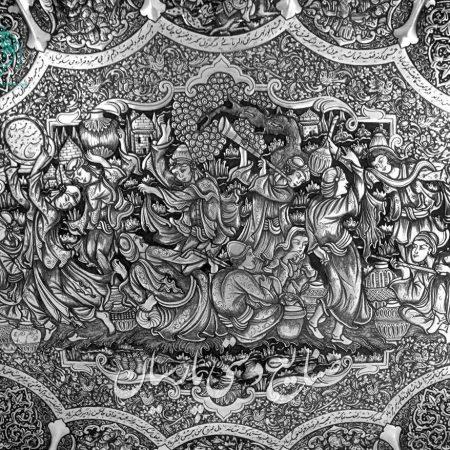 سینی دیوار کوب اعلی قلمزنی طرح اسلیمی بزم و شعر تصویر۲