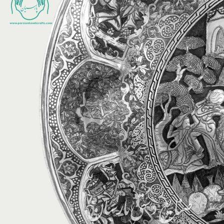 سینی طرح بزم اسلیمی دیوار کوب قلمزنی تصویر ۲