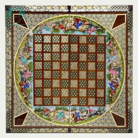 روی تخته نرد خاتم اصفهان لب گرد و نقاشی چوگان سایز 40