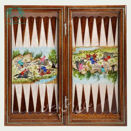 داخل تخته نرد خاتم اصفهان لب گرد و نقاشی چوگان سایز 40