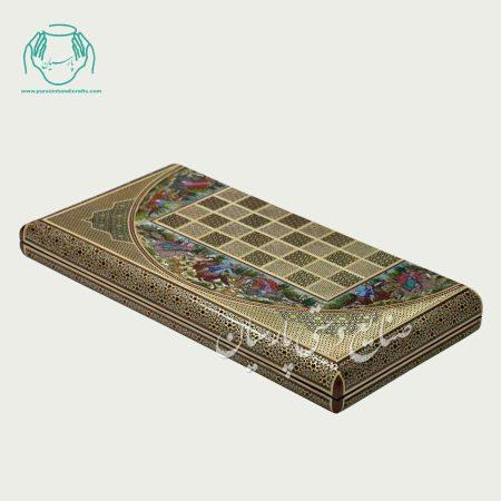تخته نرد چوگان اصفهان خاتم و نقاشی لب گرد اعلی
