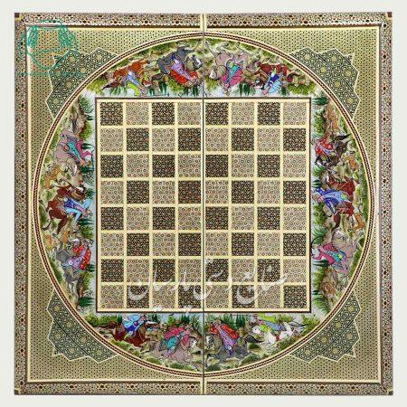 روی تخته نرد چوگان اصفهان خاتم و نقاشی لب گرد اعلی