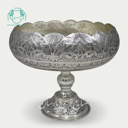 شیرینی خوری قلمزنی اصفهان پایه دار آب نقره تصویر دوم