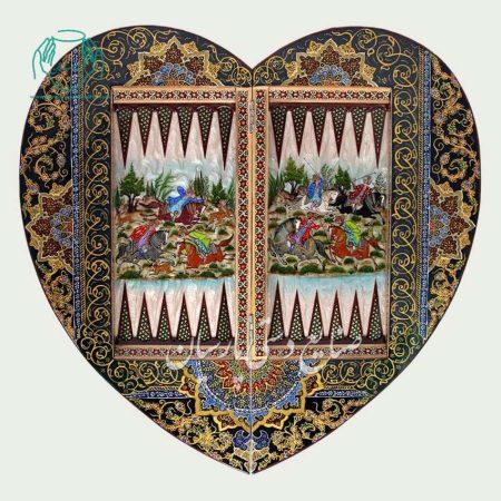 تخته نرد طرح قلب خاتم و نقاشی چوگان تصویر۲